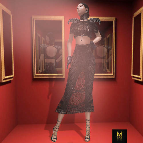 {Meghindo's} ~ Ambra ~ Two piece black lace ~ / PoSEsioN Set Pose