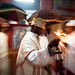 priest and Pilgrims celebrate fasika(easter) inside the rock-hewn churches of Lalibela, Ethiopia.