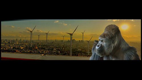 sunset panorama windmill japan photomanipulation photography gold tokyo golden cityscape gorilla surrealism surreal photomontage windturbine windpower photocomposition windpump gorille eolienne nikond3100 leveloindigo photoshopelements10 rememberthatmomentlevel1 rememberthatmomentlevel2