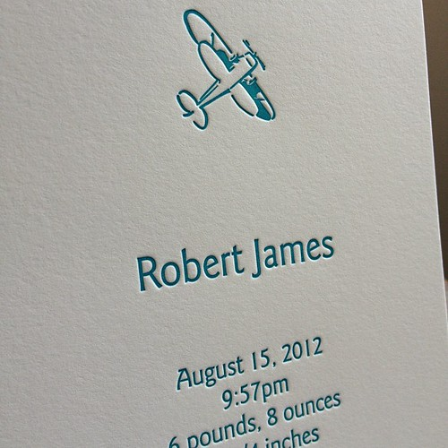 More airplanes in turquoise. #letterpress #birthannouncement