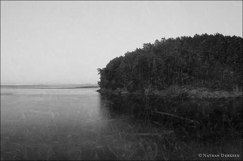 ocean blackandwhite landscape doubleexposure mayneisland