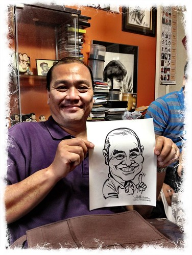 Another sample caricature on the inkjet paper, to be heat-pressed on their Pocketbag