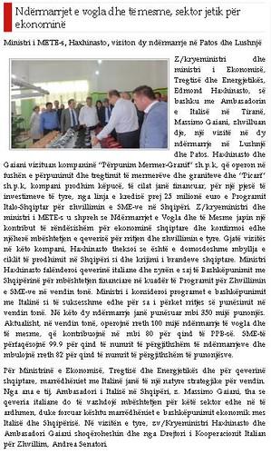 Ministri i METE-s, Haxhinasto, viziton dy ndërmarrje në Patos dhe Lushnjë