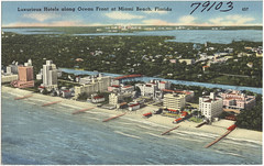 Luxurious hotels along Ocean Front at Miami Beach, Florida