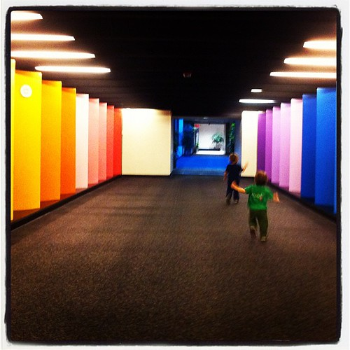 Mick is so big now I confuse him in pictures with K. Running down rainbow hall in our adventure in uptown last night.