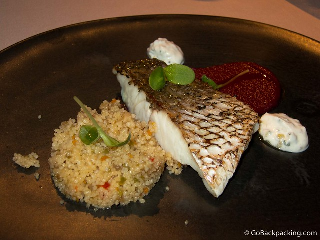 Corvina with beet puree, Greek yogurt and vegetable couscous