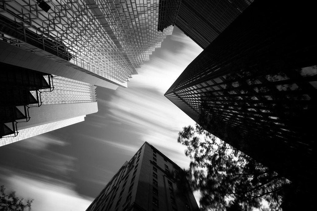 black and white image of bay street buildings in toronto with nd filter