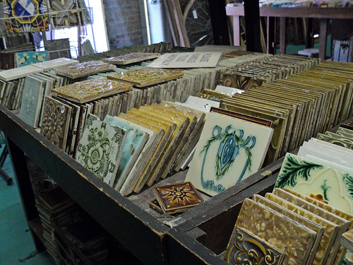 salvaged tiles  from Architectural Artifacts in Ravenswood, seen during 2012 Ravenswood Art Walk 11th Annual Tour of Arts & Industry in Chicago