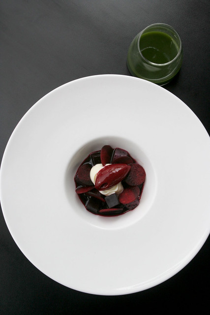 Beets, Dragon Fruit, Creme Fraiche, Sorbet and Basil Pesto