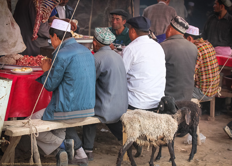 Eating stalls  inside the Sunday Livestock Market in Kashgar