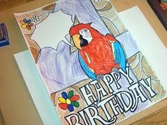 Fertige Geburtstagskarte mit Papagei