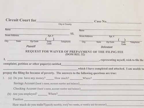 Waiver For Filing Fee
