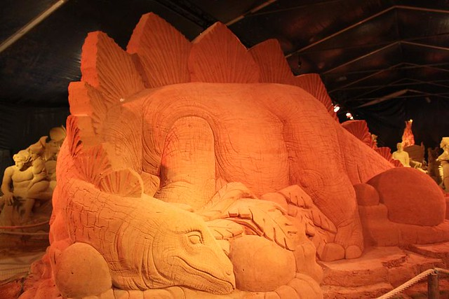 sleeping dragon made of sand
