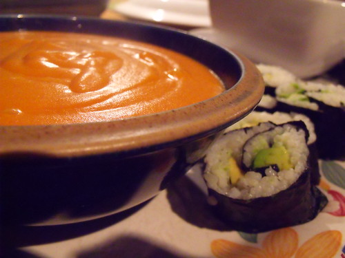 tomato soup and sushi