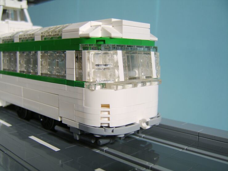 A close up of one end of a LEGO® model of a Blackpool Coronation tram