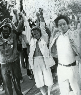 "Students join in a five-college ""Power in Diversity"" rally in November 1988."