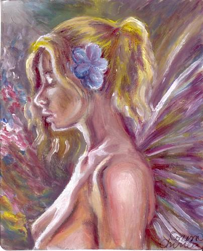 Pictura fantezie de primavara - Fata cu aripi si floare albastra in par - spring fantasy painting