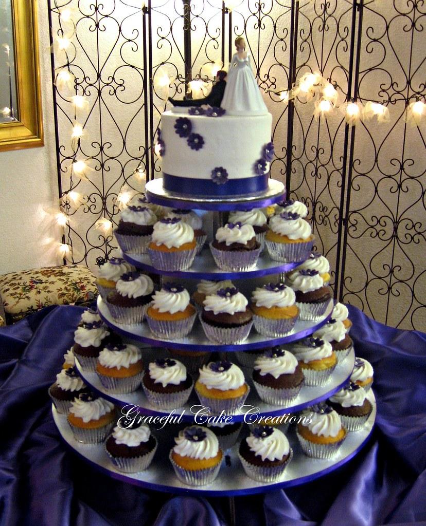 Cupcake Wedding Cake With Purple Flowers