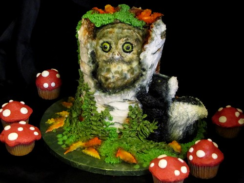Owl and Skunk Woodland Cake