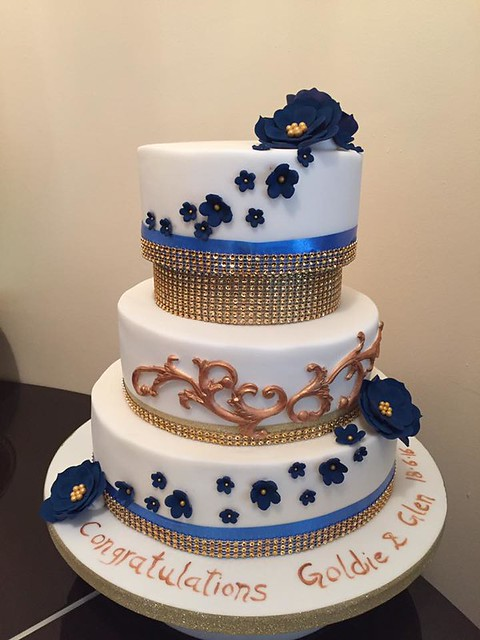 Navi and Gold Beauty Cake by Raman Sidhu of Sidhu's Bakes & Cakes - Grays