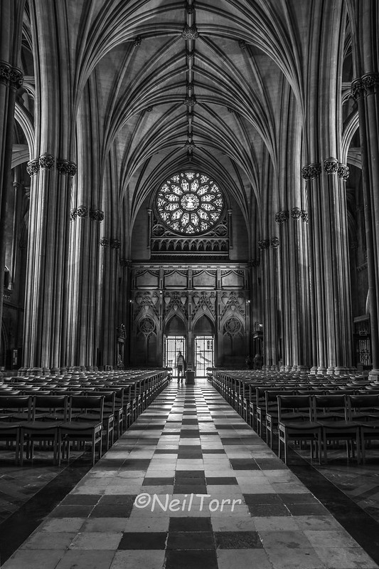 Bristol Cathedral Nave B&W