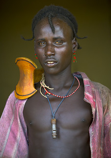 Dassanech tribe man with headrest, Turkana area, Omo valley, Ethiopia