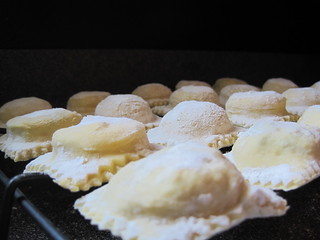 homemade ravioli, drying