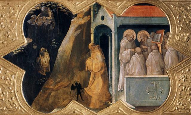 Lorenzo Monaco, St. Benedict in the Sacro Speco.c.1411-1413.[Uffizi]