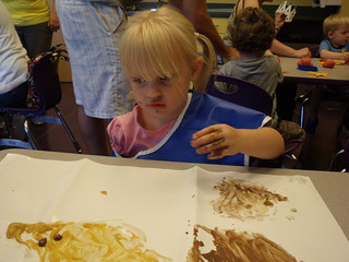 Kaitlyn - 35 months painting with pudding at a CDM class - 06-24-10
