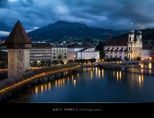 longexposure travel blue vacation mountain lake holiday church water night clouds canon switzerland evening dusk luzern pilatus bluehour lucerne nightfall jesuit kapellbrucke 60d mattparry