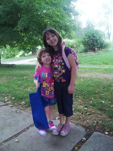 Lucy with Julia on her First Day of Preschool
