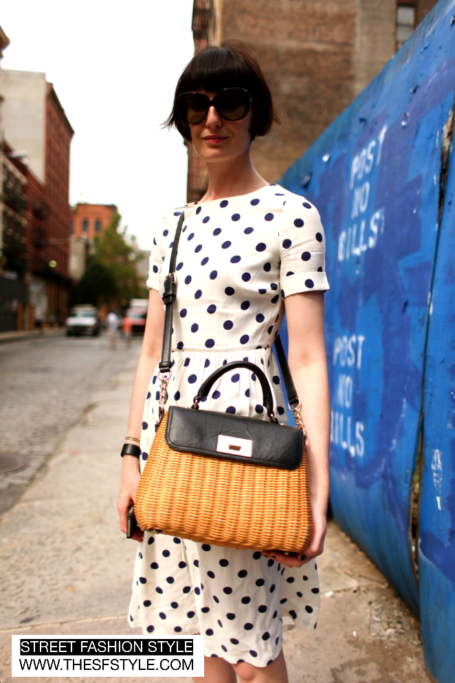 polka dots, polka dot dress, kate spade, kate spade wicker bag, wicker, new york, nyc, manhattan, new york fashion blog, street fashion style,