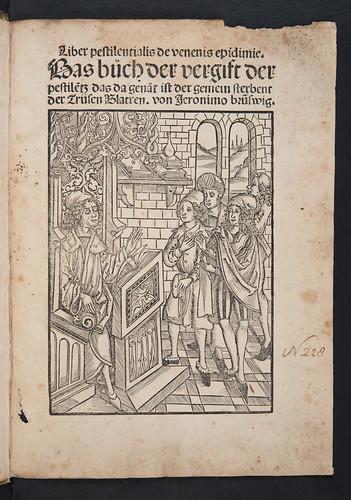Illustrated title-page of Brunschwig, Hieronymus: [Pestbuch:]  Liber pestilentialis de venenis epidimie