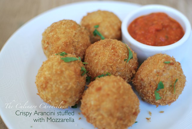Crispy Arancini stuffed with Mozzarella