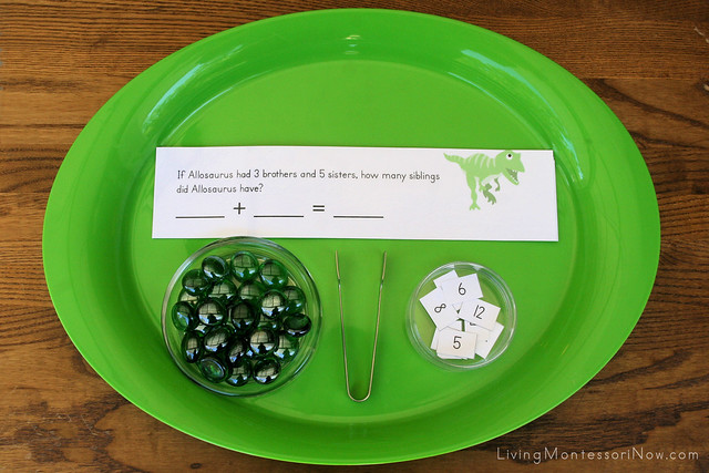 Dinosaur Addition Word-Problem Tray