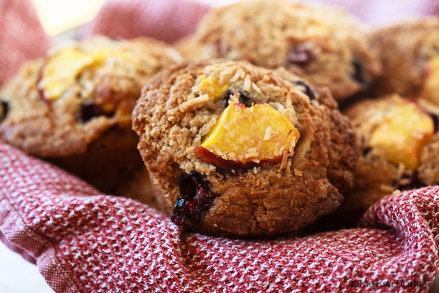 Blueberry Peach Muffins in a basket