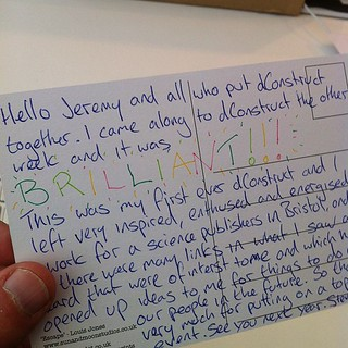 Reading a lovely postcard from a @dConstruct attendee