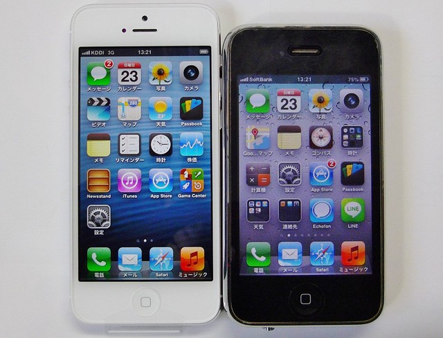 iPhone5 と iPhone3GS