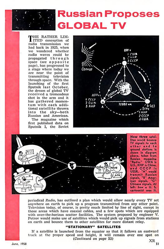 1958 - Глобальное телевидение - Russian proposes GLOBAL TV