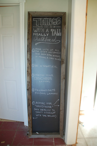 Things You Do With a Six Foot Chalkboard: #1 Frame it with Barn Wood ...