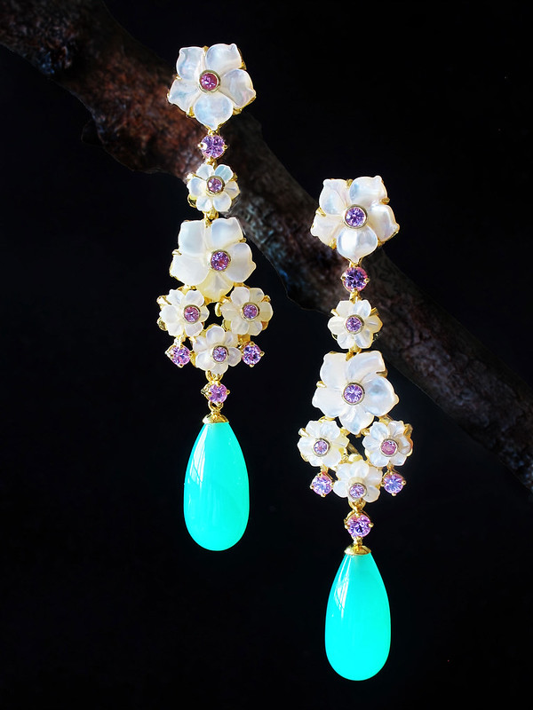 KDee Chrysophrase earrings with carved mother of pearl with pink spinels for web