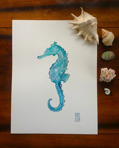 Turquoise SeaHorse by MagaMerlina