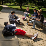 tour-0011 -- Students flock to Eckley Quadrangle to soak up sunshine.