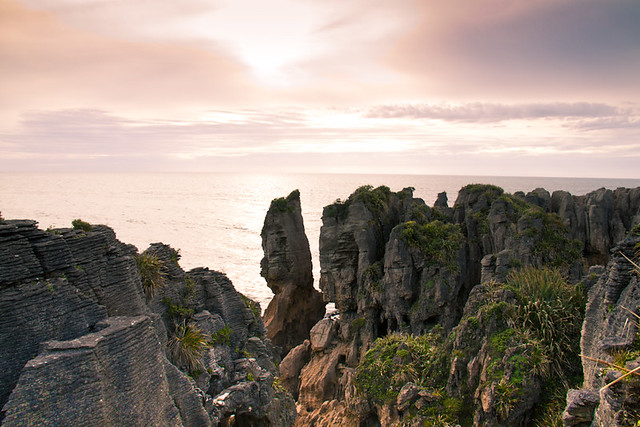 Sunset pancake rocks