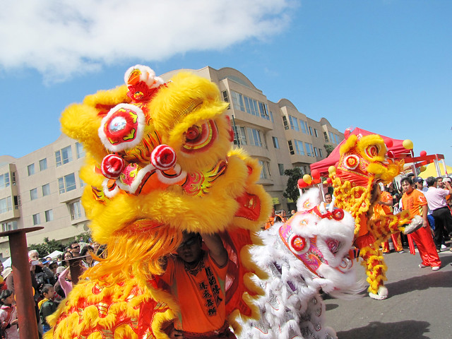 The symbolism in a chinese lion dance performance