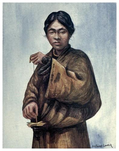 005-Hombre tibetano hilando lana-Tibet & Nepal-1905-A. H. Savage-Landor