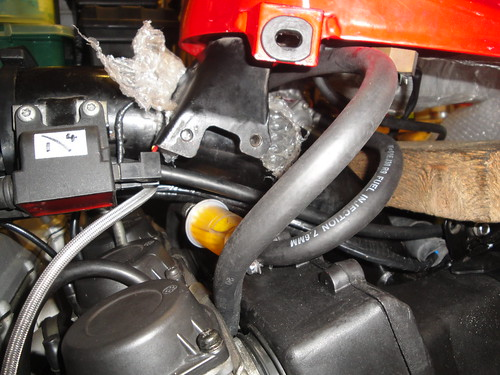 In-line fuel filter fitted to new hose