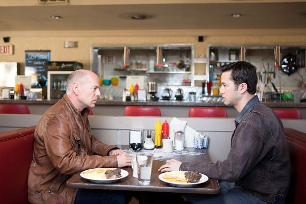 Bruce Willis and Joseph Gordon-Levitt try to close the LOOPER.