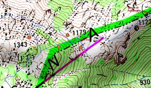 Carte détaillée des environs Ouest de Bocca di Funtanella en Cagna avec les départs de traces cairnées et les points remarquables