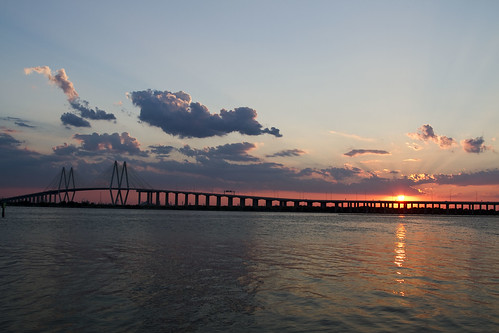 bridge sunset sky water bay texas baytown houston laporte fredhartmanbridge sanjacintoriver